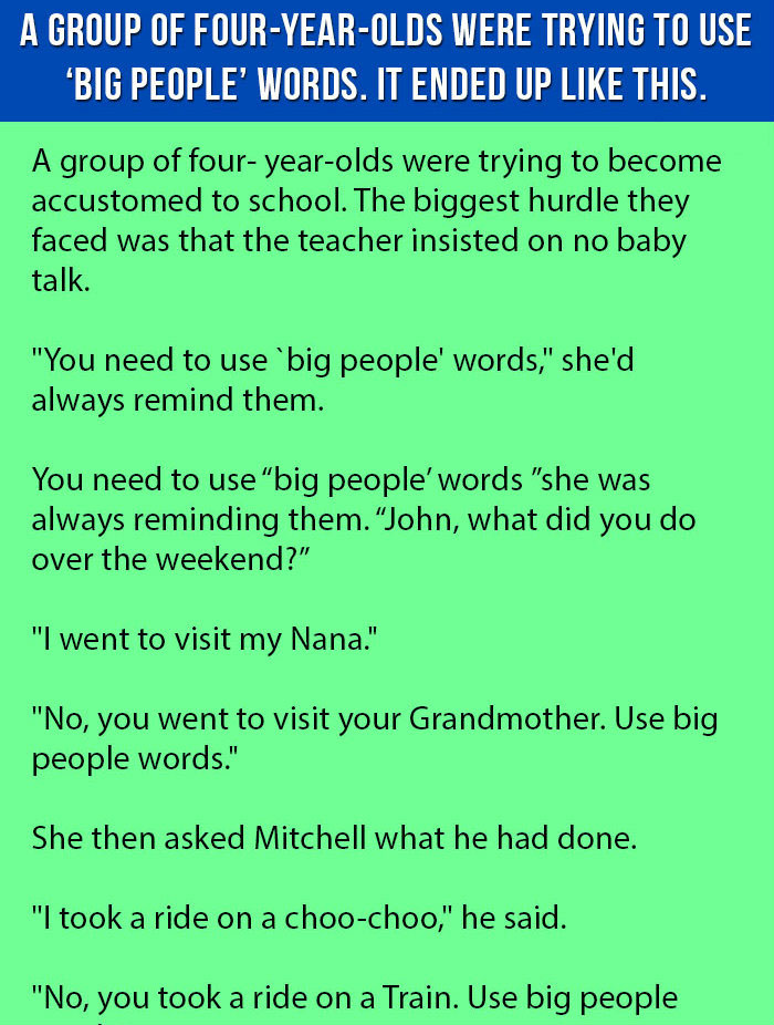 A GROUP OF FOUR YEAR OLDS WERE TRYING TO USE BIG PEOPLE WORDS. BUT NEXT IS PRICELESS.