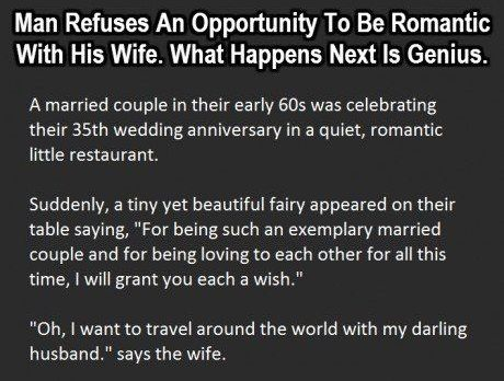 Man Refuses an Opportunity to be Romantic with his Wife