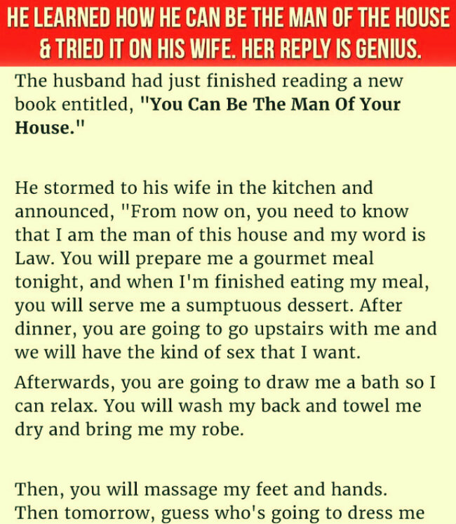 HUSBAND LEARNS HOW TO BE THE MAN OF THE HOUSE (funny joke)