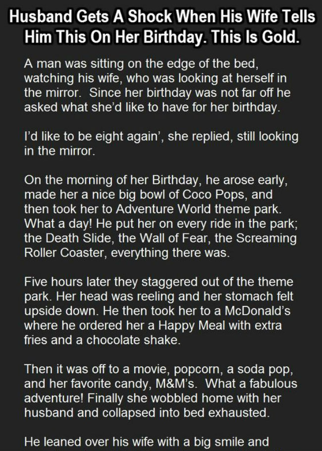 HUSBAND GETS A SHOCK WHEN HIS WIFE TELLS HIM THIS ON HER BIRTHDAY…
