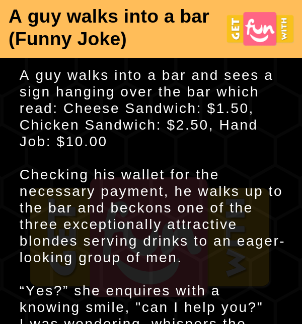 A guy walks into a bar (Funny Joke)
