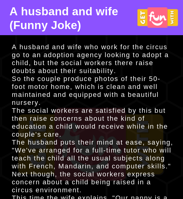 A husband and wife (Funny Joke)