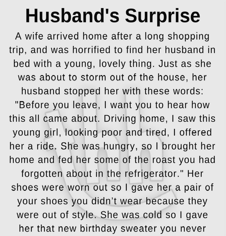 HUSBAND'S SURPRISE (FUNNY STORY)