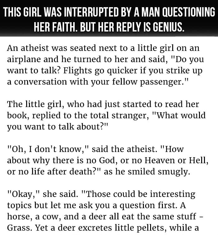 LITTLE GIRL IS INTERRUPTED BY A MAN QUESTIONING HER FAITH. BUT HER REPLY IS GENIUS.