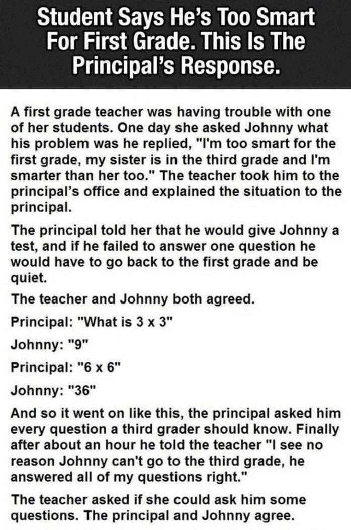 Student Says He's Too Smart For First Grade. This Is The Principal's Response.