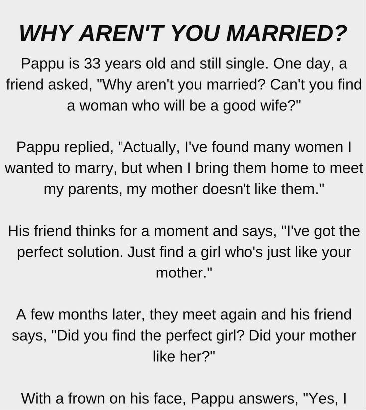 WHY AREN'T YOU MARRIED?!! (FUNNY STORY)