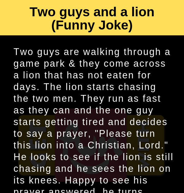 Two guys and a lion (Funny Joke)
