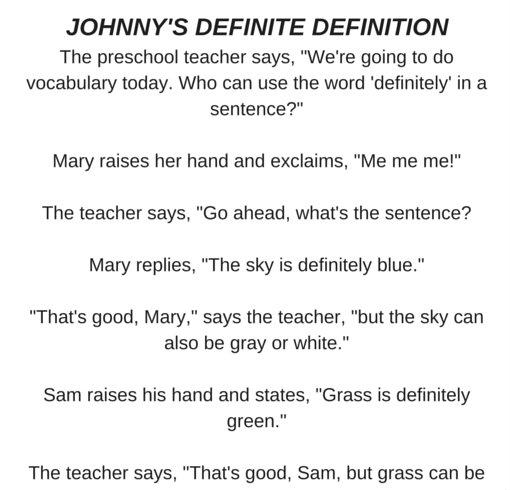 JOHNNY'S DEFINITE DEFINITION…