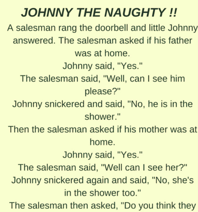 JOHNNY THE NAUGHTY !!