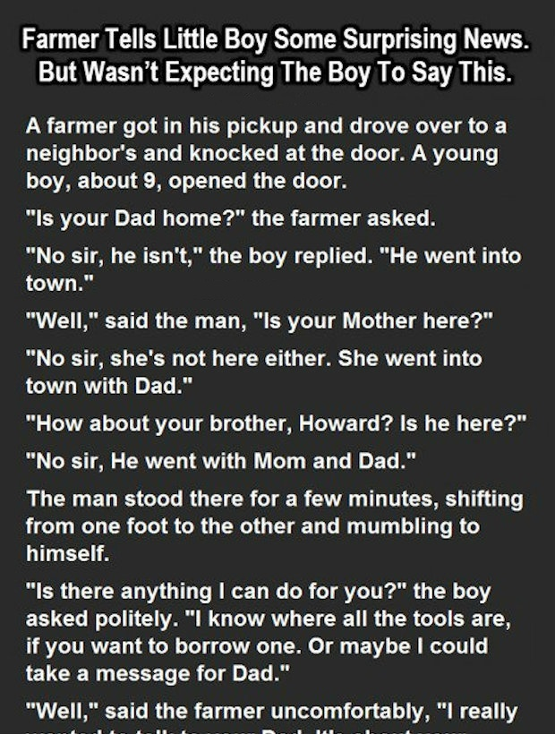 FARMER TELLS LITTLE BOY SOME SURPRISING NEWS. BUT WASN'T EXPECTED THIS.