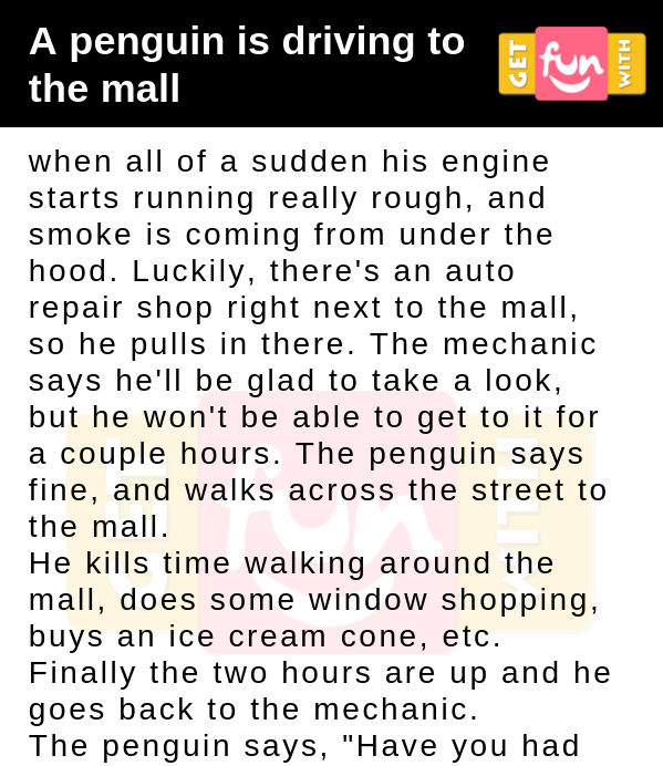 A penguin is driving to the mall