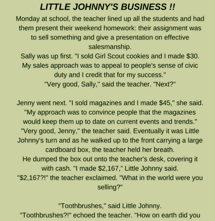 LITTLE JOHNNY'S BUSINESS !!