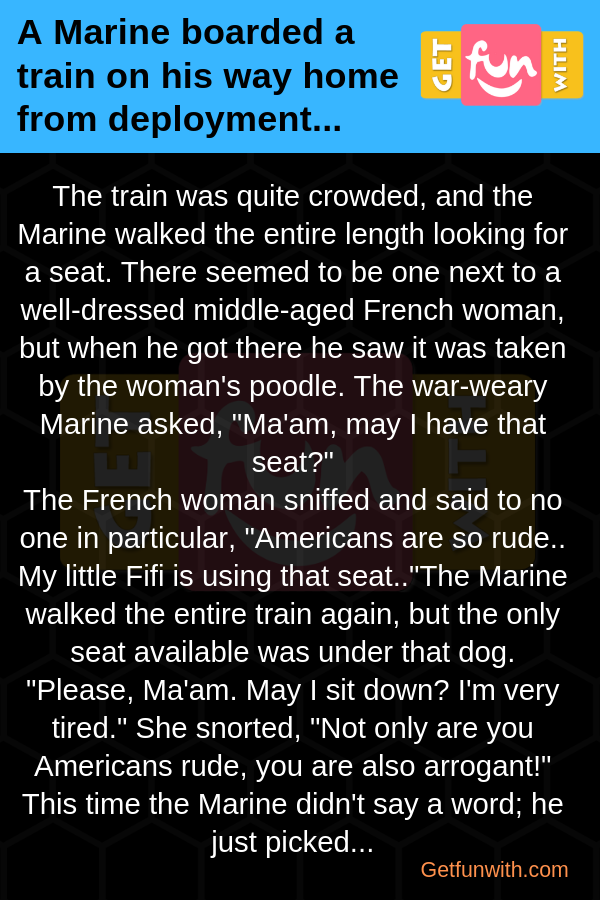 A Marine boarded a train on his way home from deployment...