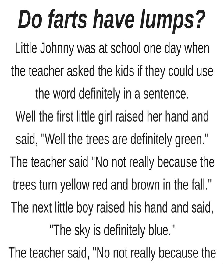 DO FARTS HAVE LUMPS?