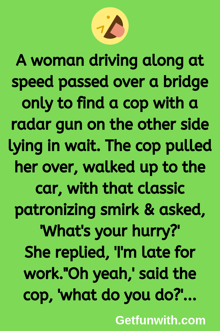 A woman driving along at speed