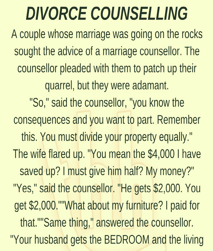 DIVORCE COUNSELLING!