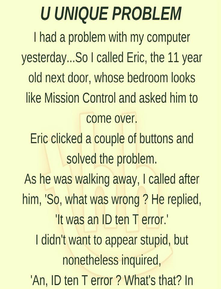 A UNIQUE PROBLEM!