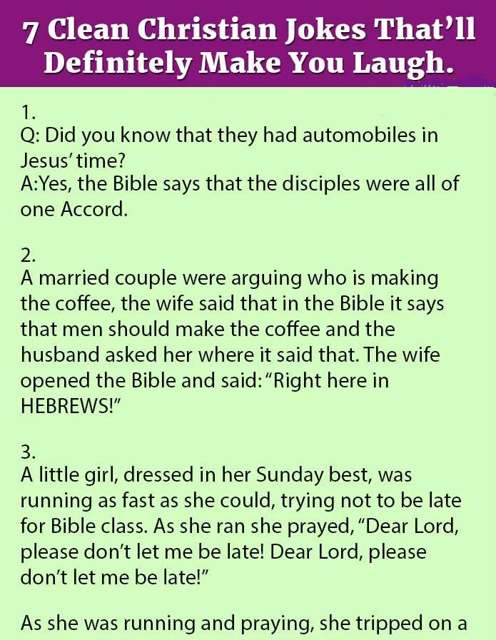 7 CLEAN CHRISTIAN JOKES THAT'LL DEFINITELY MAKE YOU LAUGH.(LOL)