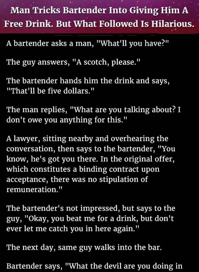 Man tricks bartender..
