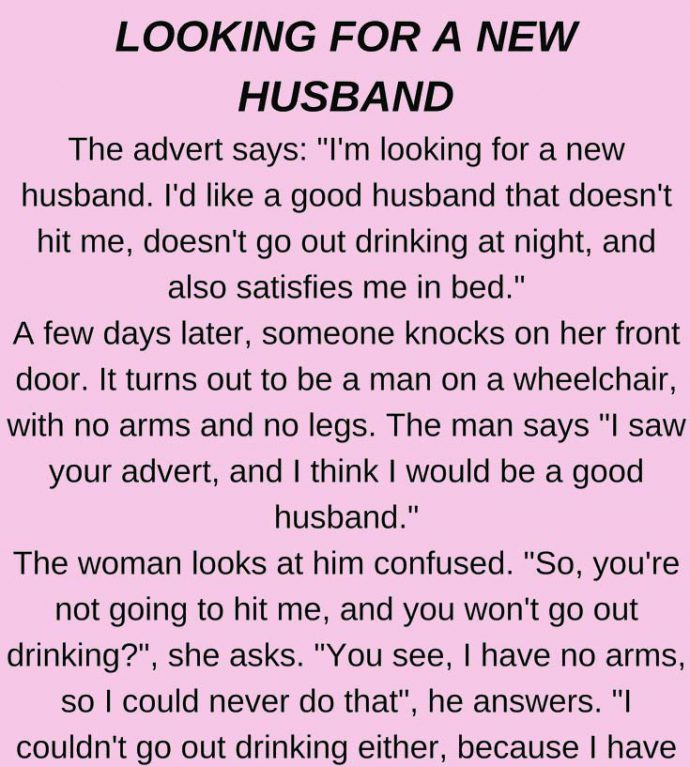 Looking for a new husband