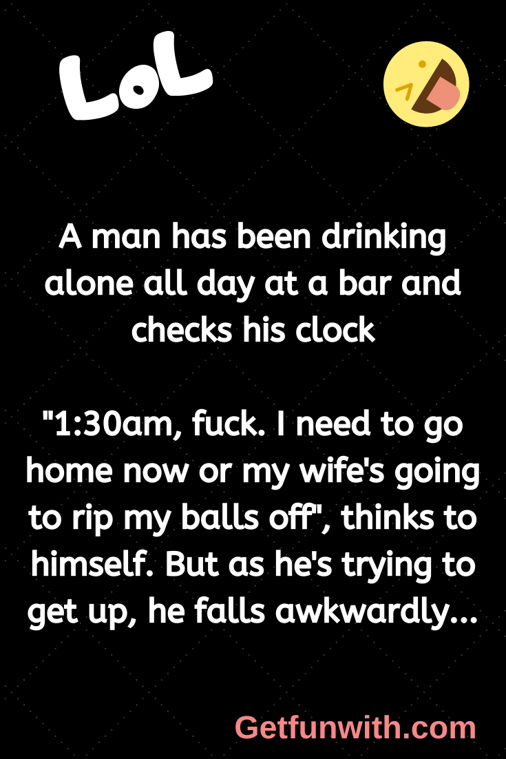 A man has been drinking alone all day at a bar and checks his clock