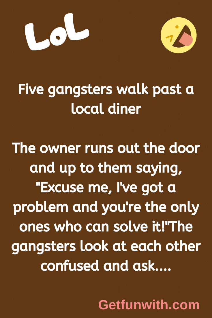 Five gangsters walk past a local diner