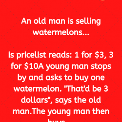 An old man is selling watermelons…