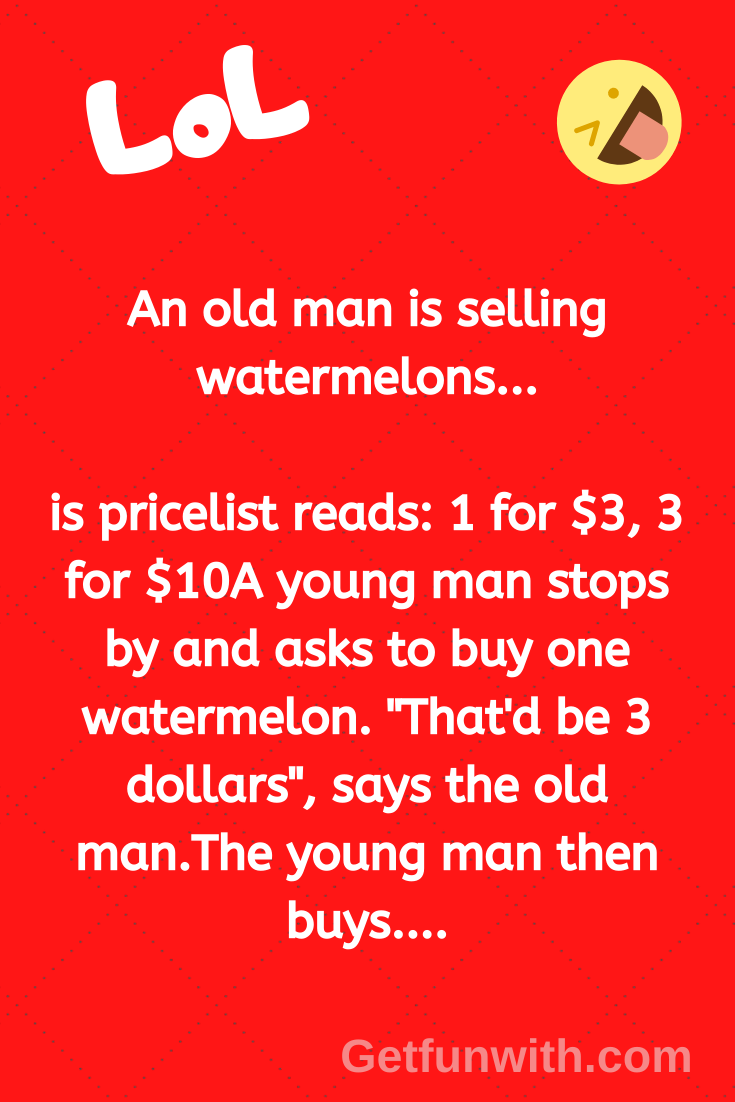 An old man is selling watermelons...
