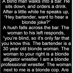 A blind man walks into a bar