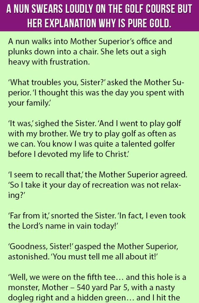 Nun Swears Loudly on The Golf Course. But Her Explanation is Pure Gold