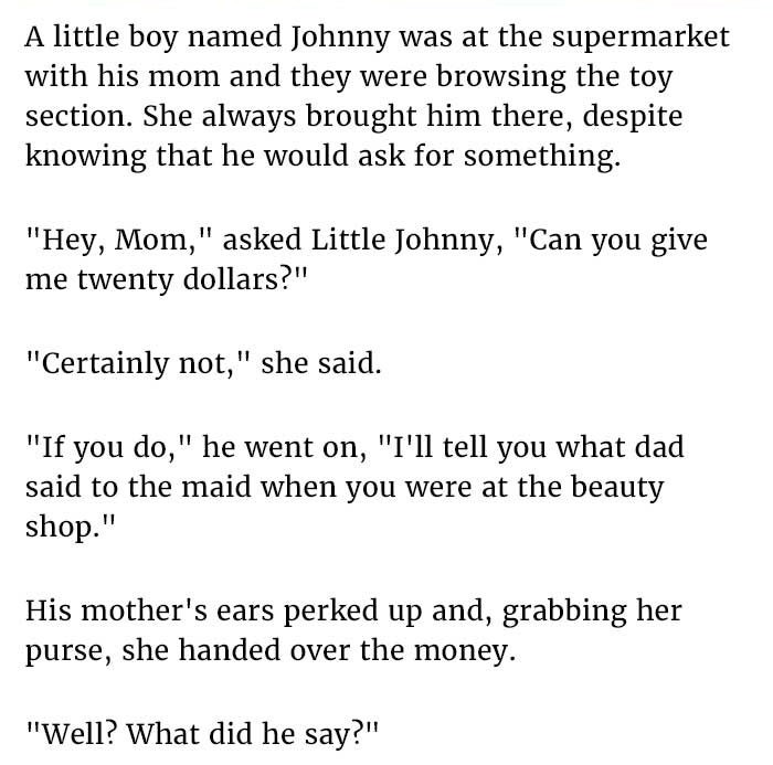 Little Johnny Tells Mom A Secret About Dad. Next Happened Is Gold.