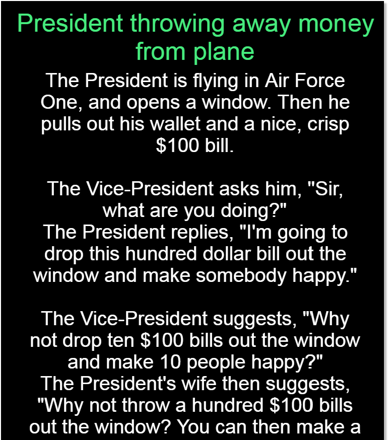 President throwing away money from plane