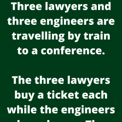 Three lawyers and three engineers are travelling by train to a conference.