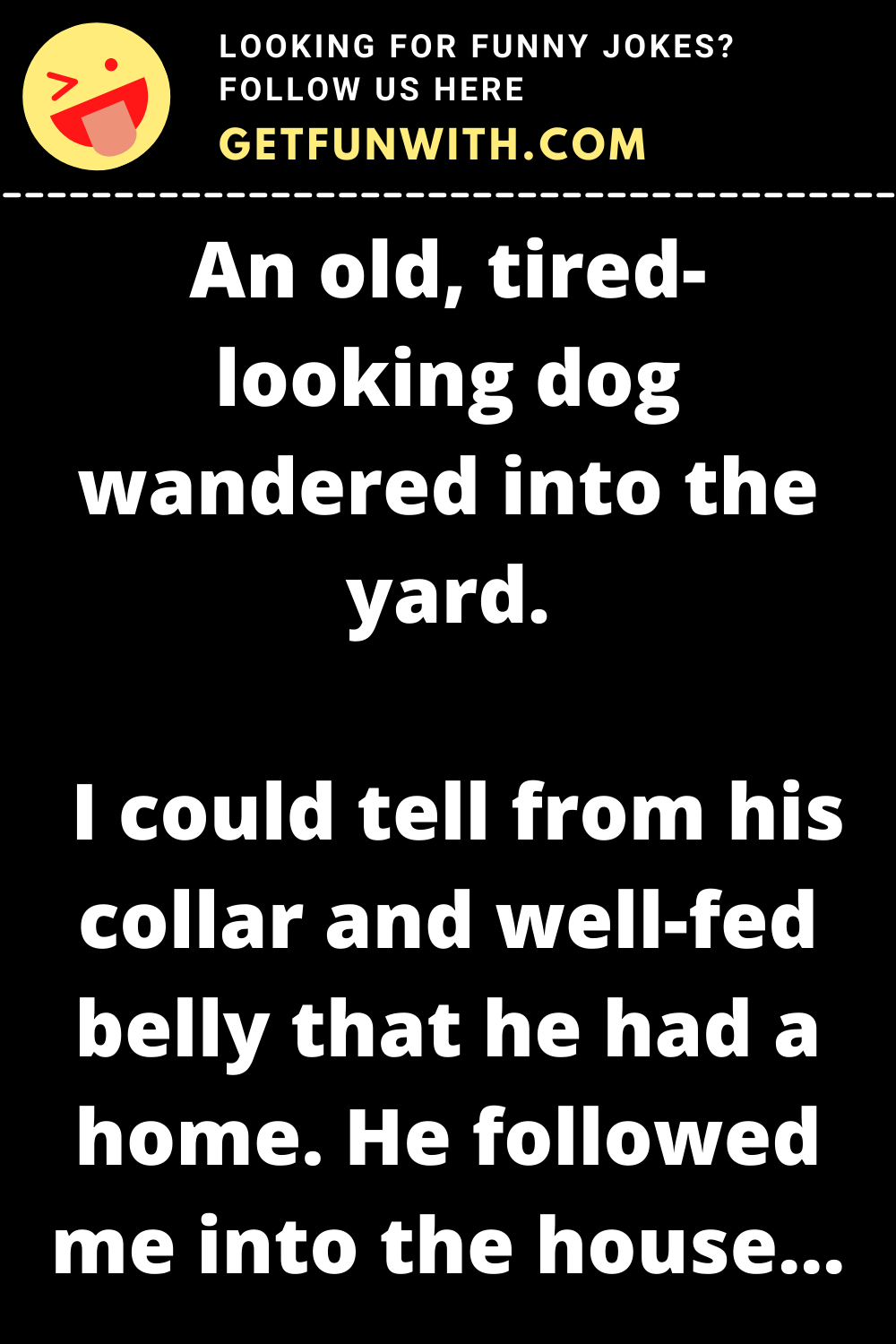 An old, tired-looking dog wandered into the yard