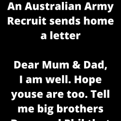 An Australian Army Recruit sends home a letter