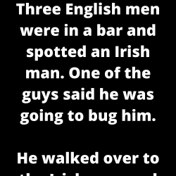 Three English men were in a bar and spotted an Irish man. One of the guys said he was going to bug him.