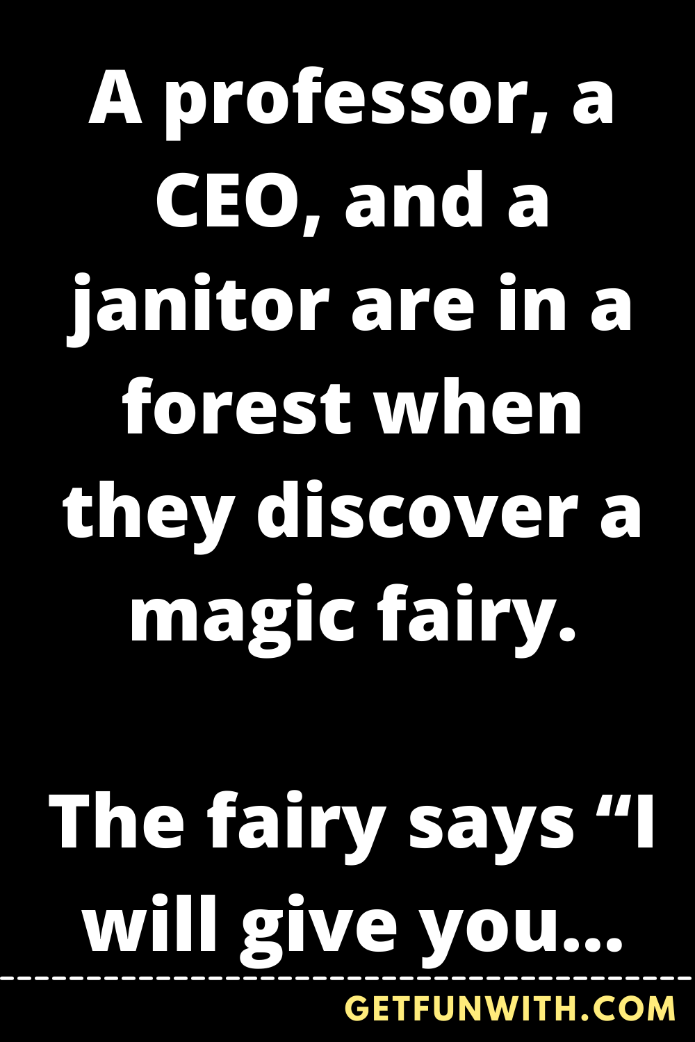 A professor, a CEO, and a janitor are in a forest when they discover a magic fairy.