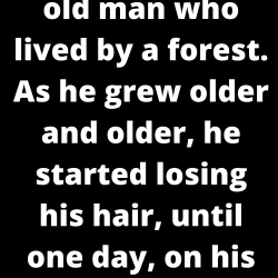There was an old man who lived by a forest. As he grew older and older, he started losing his hair, until one day, on his deathbed, he was completely bald. That day, he called his children to a meeting…