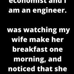 My wife is an economist and I am an engineer.